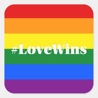 El amor de los #LoveWins gana igualdad de la boda Pegatina Cuadrada