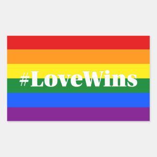 El amor de los #LoveWins gana igualdad de la boda Pegatina Rectangular