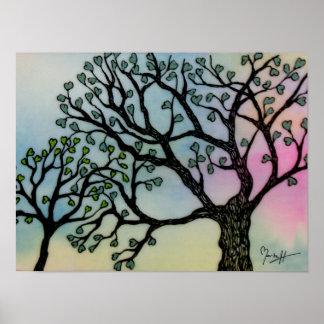 El amor de madre - árboles en la vitela y la acuar póster