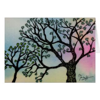 El amor de madre - árboles en la vitela y la acuar felicitación