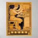 El amor de Nouveau del arte del vintage conquista  Poster
