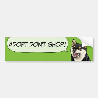 ¡El amor de Shiba Inu adopta un perro del refugio! Pegatina Para Auto