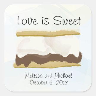 El amor de Smores es dulce Colcomanias Cuadradass