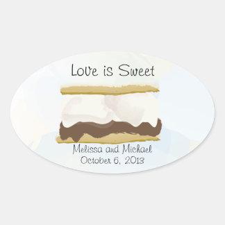 El amor de Smores es dulce Pegatina Ovalada