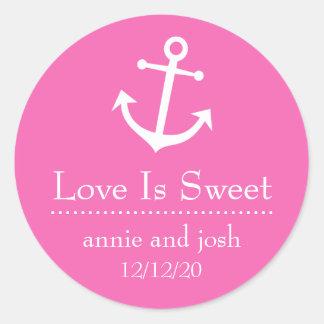 El amor del ancla del barco es etiquetas dulces pegatinas redondas