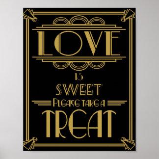 El amor del art déco es impresión dulce póster