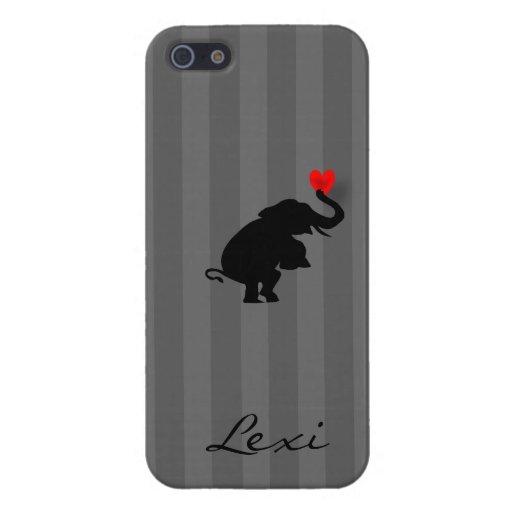El amor del corazón del elefante personalizó la ca iPhone 5 cobertura