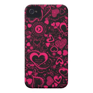 El amor del corazón Doodles la caja rosada negra d