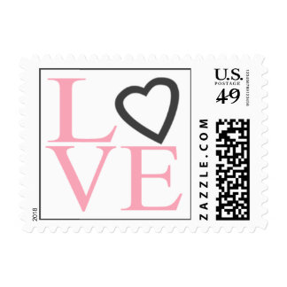 El amor del franqueo del boda sella rosa y gris timbre postal
