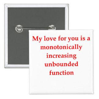 el amor del friki de la matemáticas coge la línea pin cuadrada 5 cm