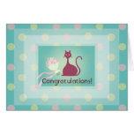 El amor del gato florece la tarjeta de felicitació