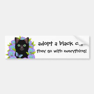 ¡El amor del gato negro adopta un gato del Pegatina Para Auto