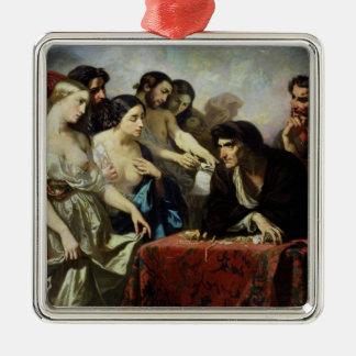 El amor del oro, 1844 adorno navideño cuadrado de metal