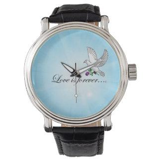 El AMOR del pájaro es Forever Relojes De Pulsera