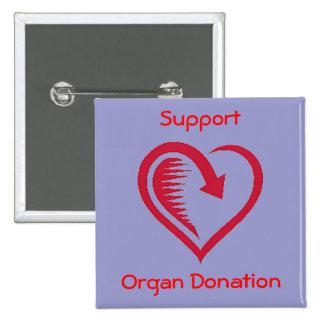 El amor del partidario de la donación de órganos pin cuadrado