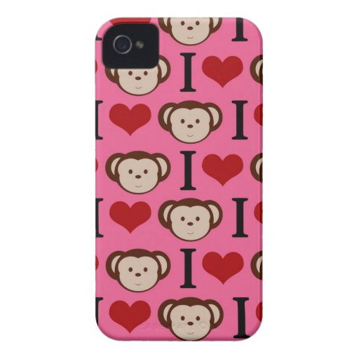 El amor del rosa I Monkeys la caja de Blackberry Carcasa Para iPhone 4 De Case-Mate