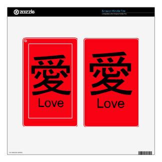 El AMOR en caracteres de kanji encajona y las Pegatinas Skins Para Kindle Fire