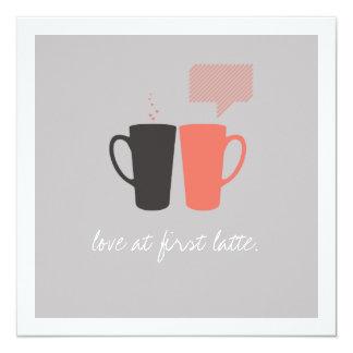 """El """"amor en ducha de primer Latte"""" invita Invitación 13,3 Cm X 13,3cm"""
