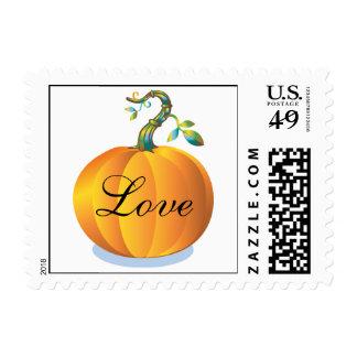 El amor en la boda del otoño de calabaza stamp