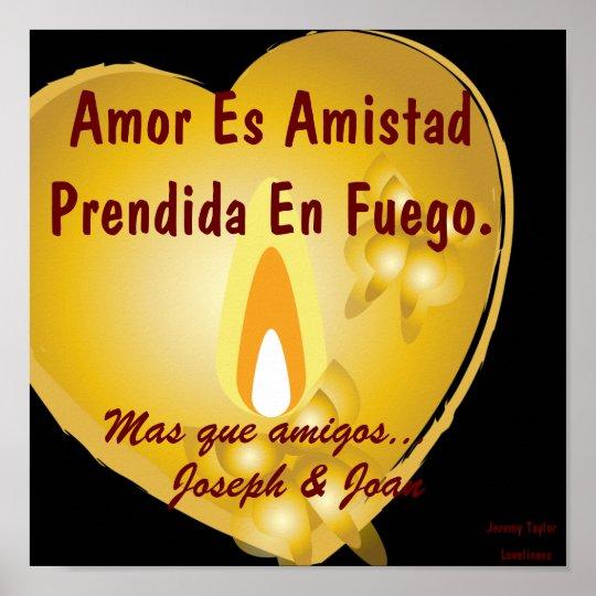 El amor es amistad fijada en el fuego [español] -  póster