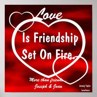 El amor es amistad fijada en Poster-Personalizar d Póster