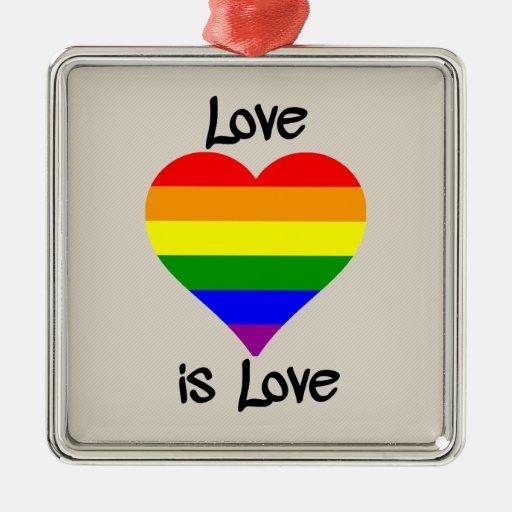 El amor es amor adorno navideño cuadrado de metal