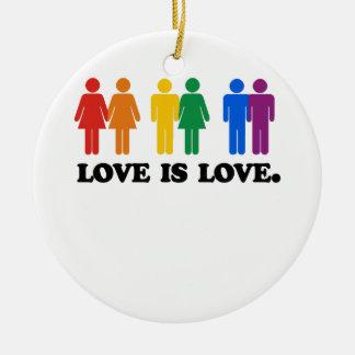 El amor es amor adorno navideño redondo de cerámica