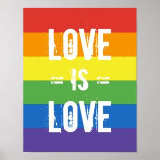 El amor es amor - ame la bandera del arco iris de póster