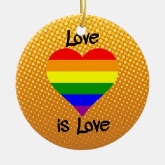El amor es amor adorno redondo de cerámica