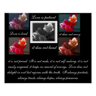 El amor es amor paciente es bueno con la impresión póster