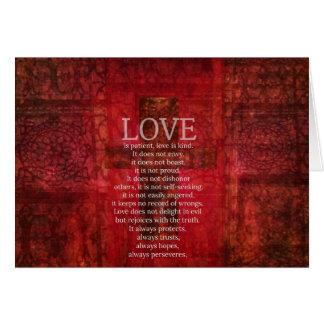 El amor es amor paciente es verso bueno de la bibl tarjeta de felicitación