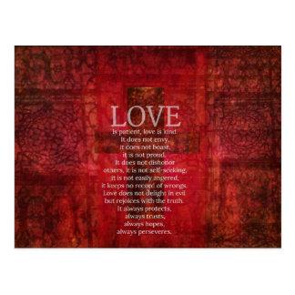 El amor es amor paciente es verso bueno de la bibl tarjeta postal