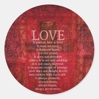 El amor es amor paciente es verso bueno de la pegatina redonda