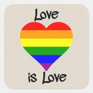 El amor es amor pegatina cuadrada