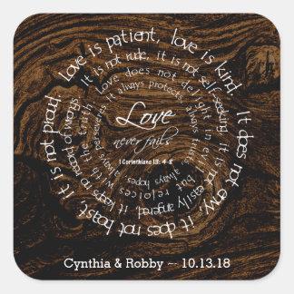 El amor es boda circular del texto del grano de calcomanía cuadradas personalizadas