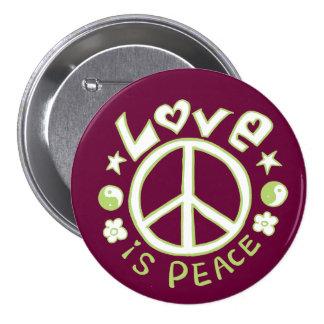 El amor es botón verde del ciruelo de la paz pin