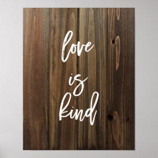 El amor es bueno en el falso poster de madera el |