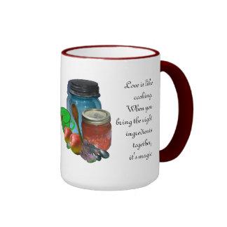 El amor es como cocinar taza de dos colores