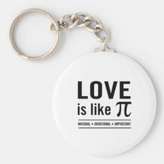 El amor es como el pi llavero redondo tipo pin