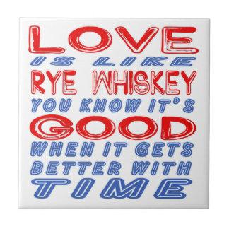 El amor es como el whisky de Rye Azulejo Cuadrado Pequeño