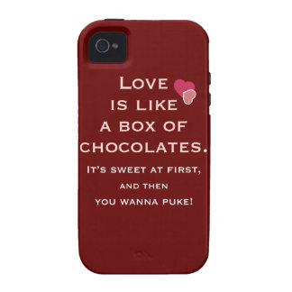 El amor es como una caja de chocolates Case-Mate iPhone 4 fundas