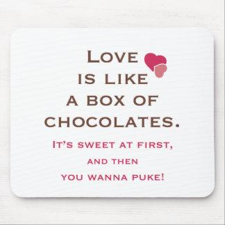 El amor es como una caja de chocolates Mousepad
