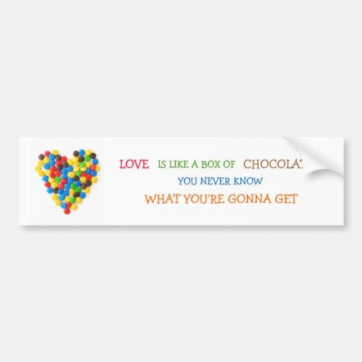 """El """"amor es como una caja pegatina para el paracho pegatina para auto"""