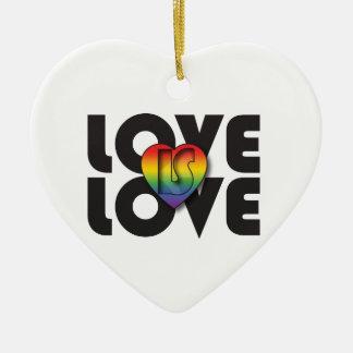 """El """"amor es corazón del arco iris del amor"""" adorno navideño de cerámica en forma de corazón"""