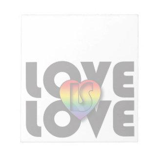 """El """"amor es corazón del arco iris del amor"""" libreta para notas"""