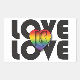 """El """"amor es corazón del arco iris del amor"""" pegatina rectangular"""