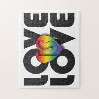 """El """"amor es corazón del arco iris del amor"""" puzzle con fotos"""