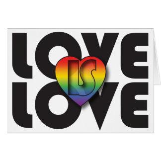 """El """"amor es corazón del arco iris del amor"""" tarjeta de felicitación"""