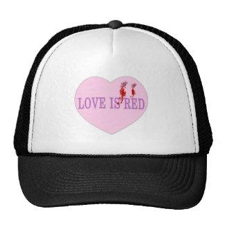 El amor es corazón rojo gorro de camionero