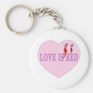 El amor es corazón rojo llavero redondo tipo pin